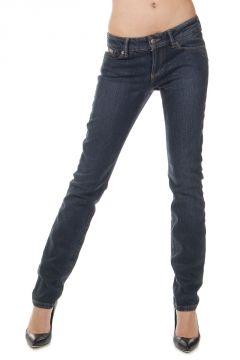 Jeans Stretch con Effetto Pelle di Rettile 15 cm