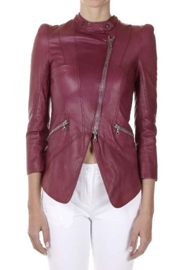 Leather Jacket with Jewel Inserts
