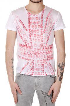 T-Shirt Skinny con Stampa Teschi e Bandiera Inglese