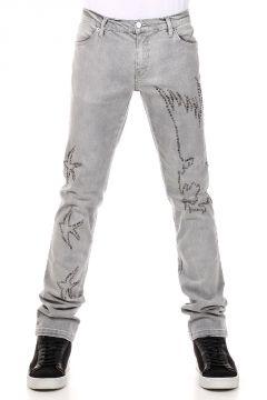 Jeans in Denim Stretch con Borchie 18 cm