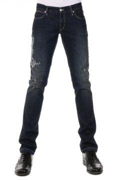 Jeans Skinny Fit in Denim Stretch con Stampa 18 cm