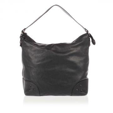 Leather Shoulder Bag with Strap and Studs