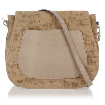 Fabric and Leather Shoulder Bag