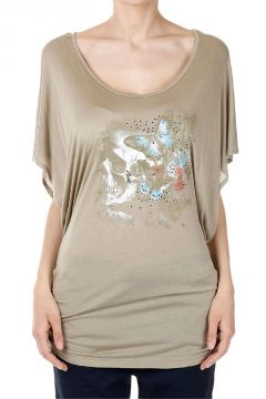 Printed T-shirt with Strass Applied