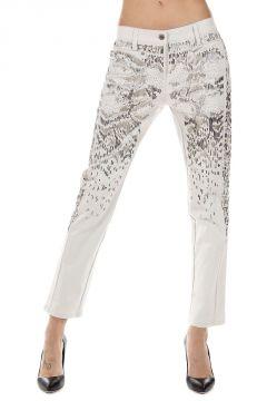 Pantalone con Applicazioni Ricamate