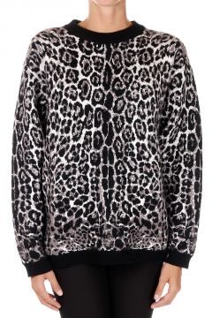 Virgin Wool Blend Leopard Printed Sweater