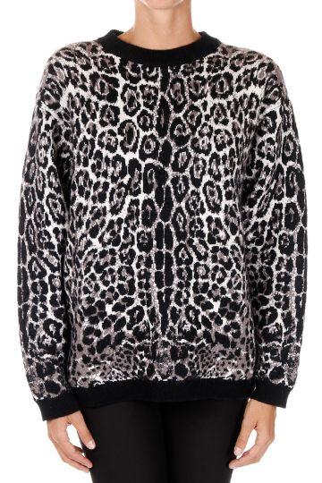 Pullover Leopardato in Misto Lana Vergine