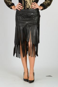 Leather Skirt With Fringes