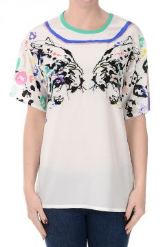 Embroidered Printed Silk T-shirt