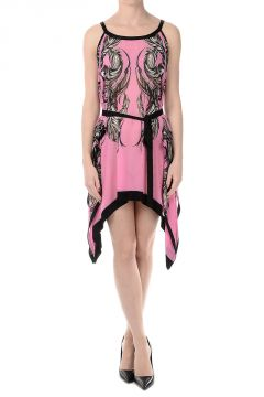 Silk Asymmetric Cut Spaghetti Dress