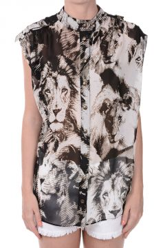 Lions Printed Silk Blouse