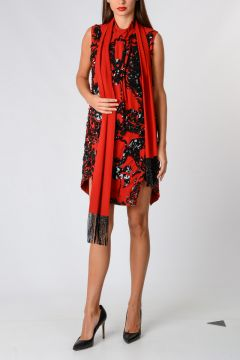 Asymmetric Cut embroidered Dress