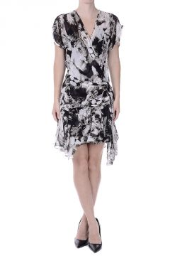 Lion Print Chiffon Silk Wrap Dress