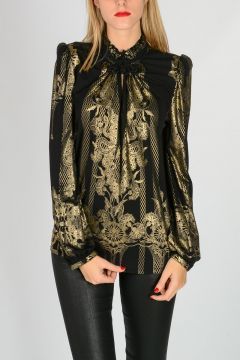 Gold Printed Top with Long sleeves