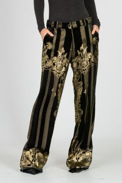 Gold Printed Boot Cut Velvet Pants