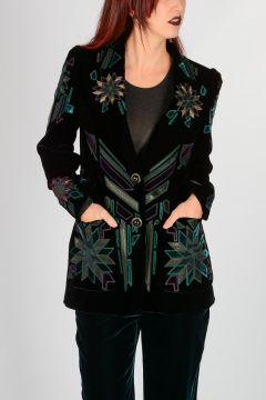 Embroidery Velvet Blazer