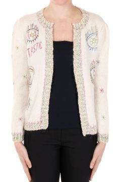 Open Alpaca Wool Cardigan with Embroideries
