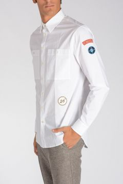 Stretch Cotton Shirt with Patches