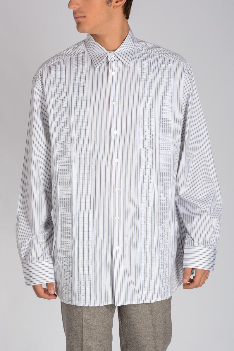 c1250666253 Raf Simons Men Striped EXTRA BIG Shirt - Glamood Outlet