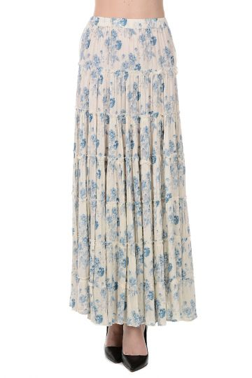 Cotton Blend Long Skirt