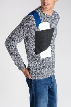 Maglione in Lana Merino e Cotone con Intarsio Geometrico