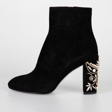 9 cm Leather Ankle Boots with Embellished Heel