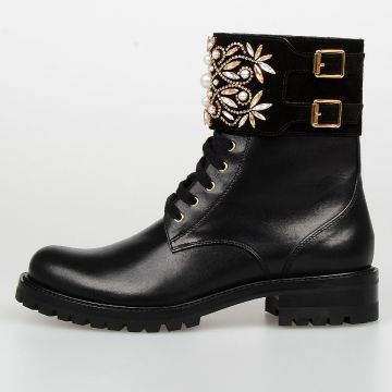 3,5 cm Leather BIKER Boots with Crystals