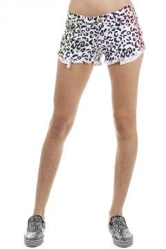 Pantaloncini Denim fantasia leopardata