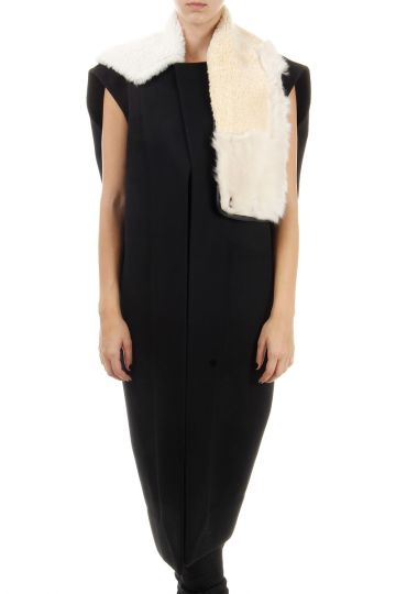 Wool & silk blended sleeveless wrap coat fur collar vintage effect