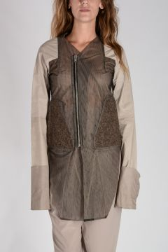 Asymmetric Cut Jacket with Leather Sleeves