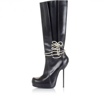High heeled boots with ankle laces