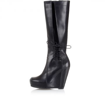 Wedge boots with ankle laces