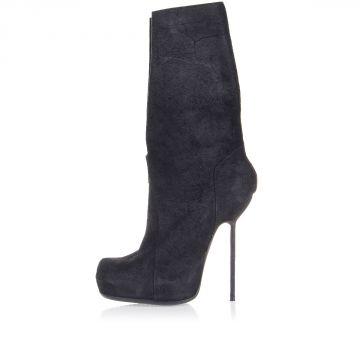 Vintage Leather Pull On SLIT Boots Heel 16 cm