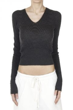 Cashmere V NECK CROPPED Sweater