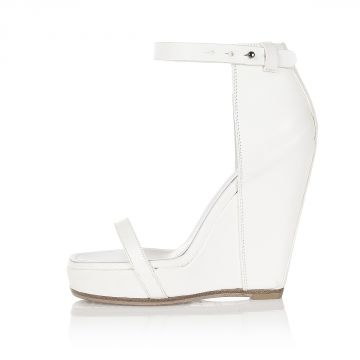 Leather WEB SANDAL with Wedge 10 cm