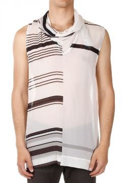 COWL JUMBO SLEEVELESS TEE in Seta