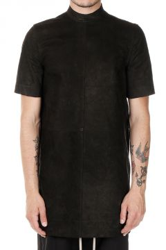 MOODY SHORT SLEEVES TUNIC Long Leather T-shirt