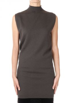 Maglione a collo Alto SLEEVELESS TURTLE in Cashmere dark dust