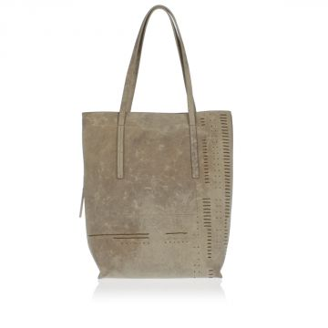 Leather MEDUM SHOPPER Shopping Bag Pearl