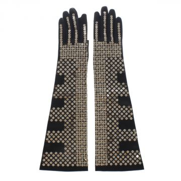 Leather SEQUINNED Long Gloves