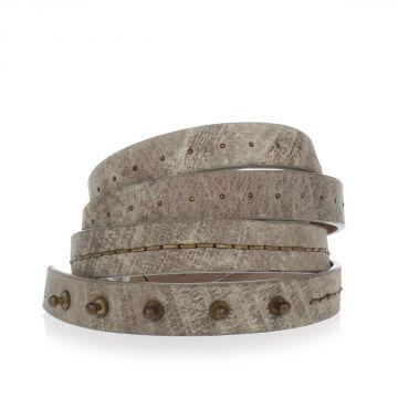 Cintura in Pelle con Applicazioni in Metallo