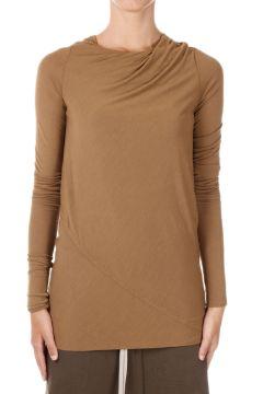 T-shirt Manica Lunga in Misto Seta Mustard
