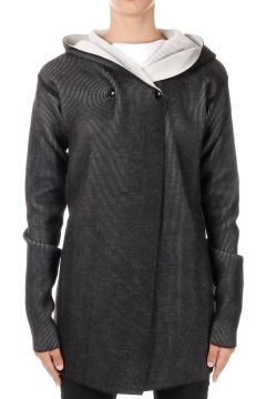 Virgin Wool HOODED BIKER Sweater