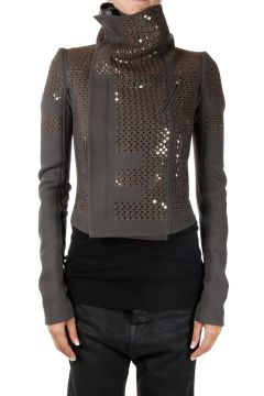 Embroided Dark Dust Biker Jacket