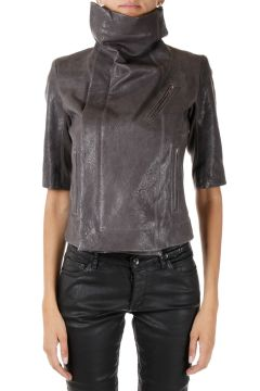 Leather Short Sleeve biker  darkdust