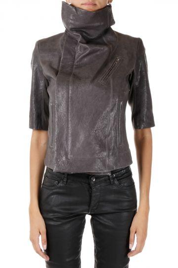 Leather Short Sleeve biker  darkdust