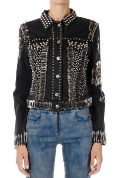 Brooches and Studded Stretch Denim Jacket