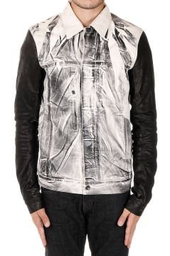 DRKSHDW Denim Jacket with Sleeves in Leather