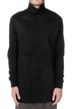 T-shirt TABARD in Pelle e Cotone a collo Alto con bottoni in Corozo