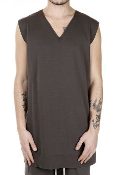 Cotton MOODY V NECK tee DARKDUST